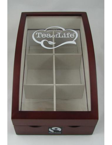 Tea of Life väike puidust klaaskaanega teekarp 6x10*2 g