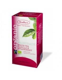 Bradley`s Organic Fair Trade valge tee vanilje ja maasikaga 25*2g